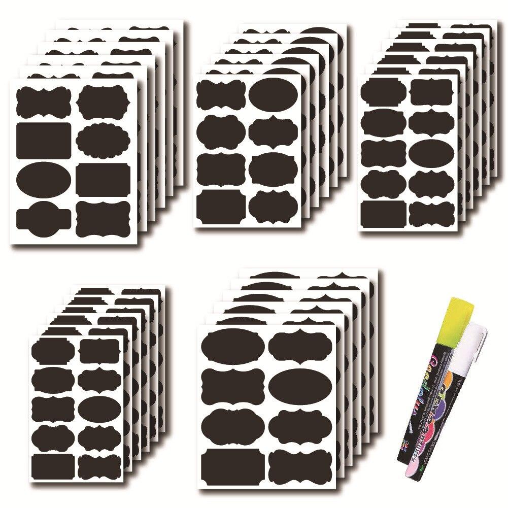 New 42/48pcs Jar Stickers Kitchen Label Stickers Blackboard Spice Labels Sticker Storage Organizer Bottles Label Chalkboard Tag
