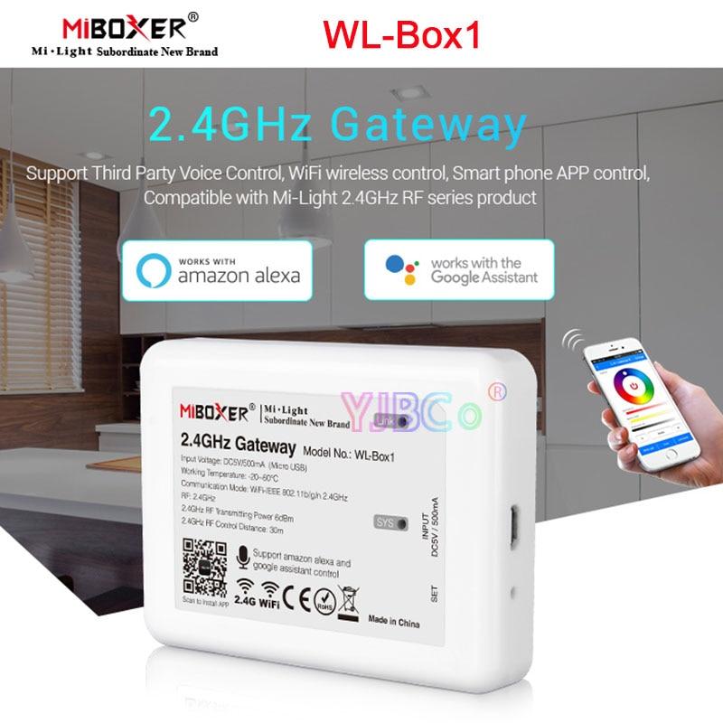 MiBoxer 2.4GHz Gateway WiFi Smart Controller WL-Box1 (iBox2 Upgraded Version) DC5V 500mA Micro USB Support Google Voice Control