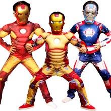 Christmas Superhero Clothes Jumpsuit Captain America Superman Hulk Iron Man Raytheon Muscle Zentai Cosplay Costume Kid Boy