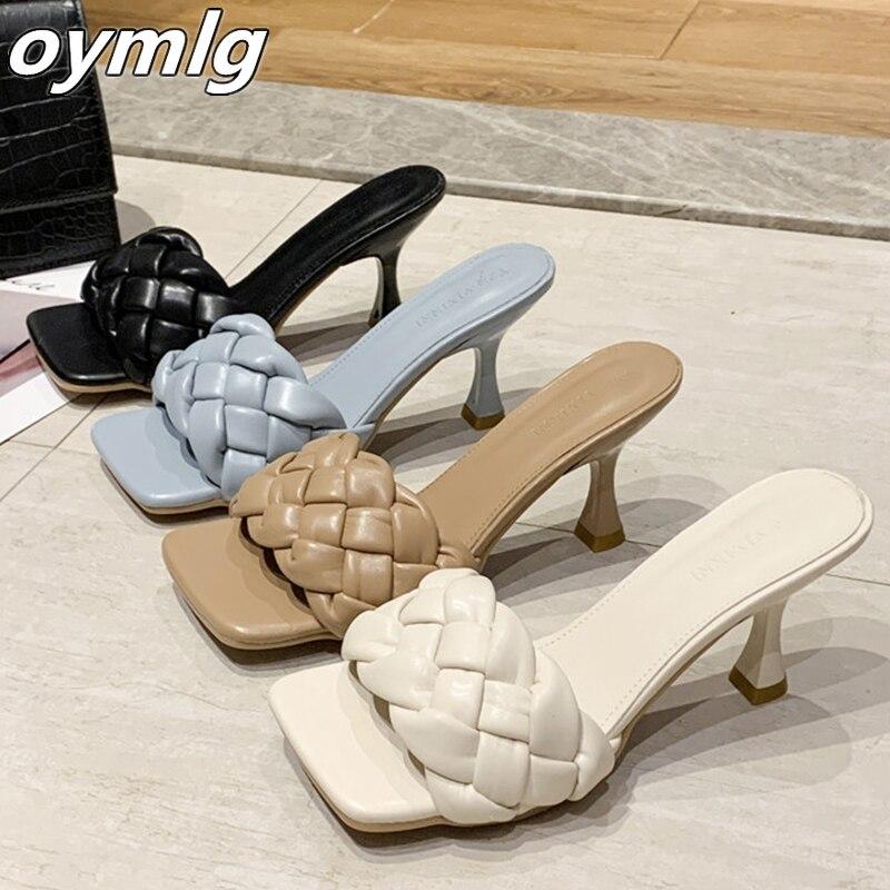 Luxury Slides Women 7cm High Heels Mules Fetish Pumps Individual Weave Leisure Blue Office Ladies Pr