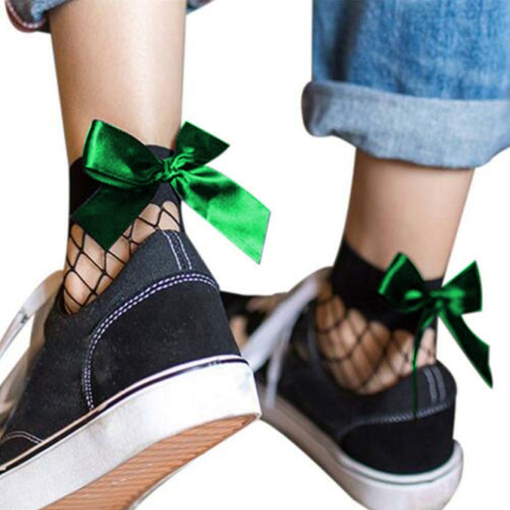 3 pares de calcetines de moda para mujer de estilo japonés para adultos, ultrafinos, transpirables, de nailon, talla única, Harajuku, tobilleras, lazos de red altos