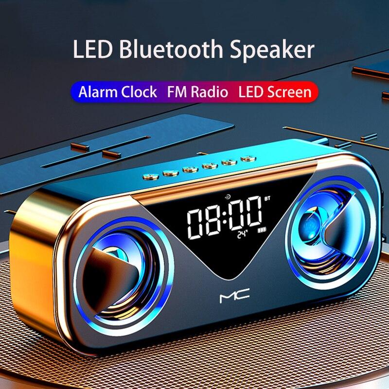Altavoces Bluetooth Portátil Potente LED Subwoofer Radio FM Parlantes para PC Despertador...