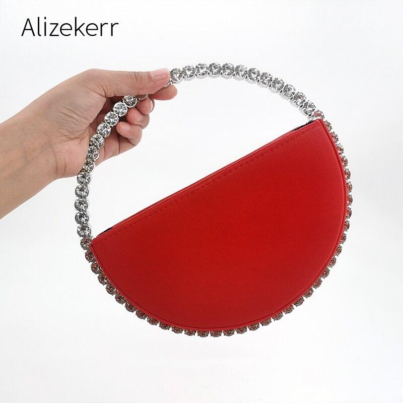 Couleur diamant circulaire sac de soirée femmes 2020 nouvelle poignée ronde strass dîner pochette sac à main dames demi-lune sac à main de mode