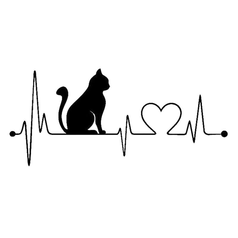 1 Pcs Pet Cat Dog Heartbeat Lifeline Vinyl Decal Creative Car Stickers Car Styling Truck Accessories Black White