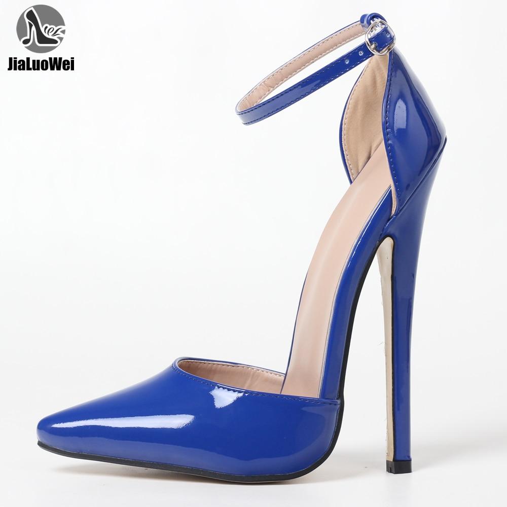 JIALUOWEI-حذاء بكعب عالٍ مقاس 7 بوصات ، أحذية مثيرة مع أحزمة للكاحل ، صنم شديد ، مقاس 36-46