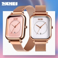 SKMEI Casual Women Quartz Watch Elegant Fashion Wristwatches Waterproof Magnet Watch Band Rectangular Dial zegarek damski 9207