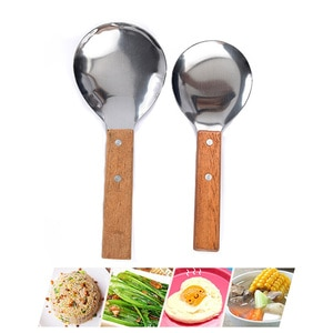 Soup Spoon With Redwood Handle Stainless Steel Food Tofu Rice Scoop Tea Coffee Spoon Salt Spice Ice Spoon Takeware Kitchen Tools