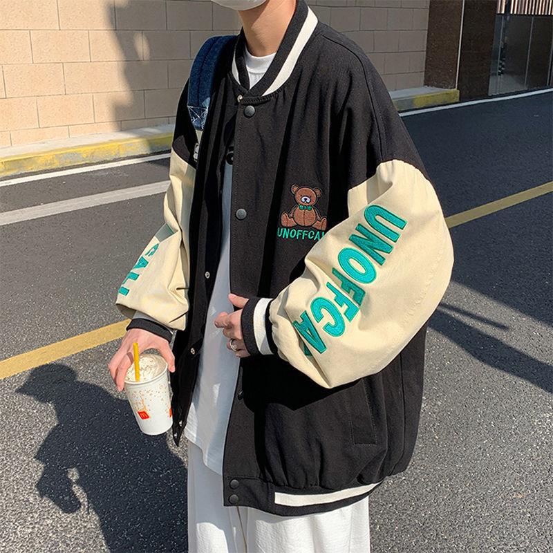 2021 new spring bear embroidered overalls men's trend Korean version of Joker loose baseball jacket boys