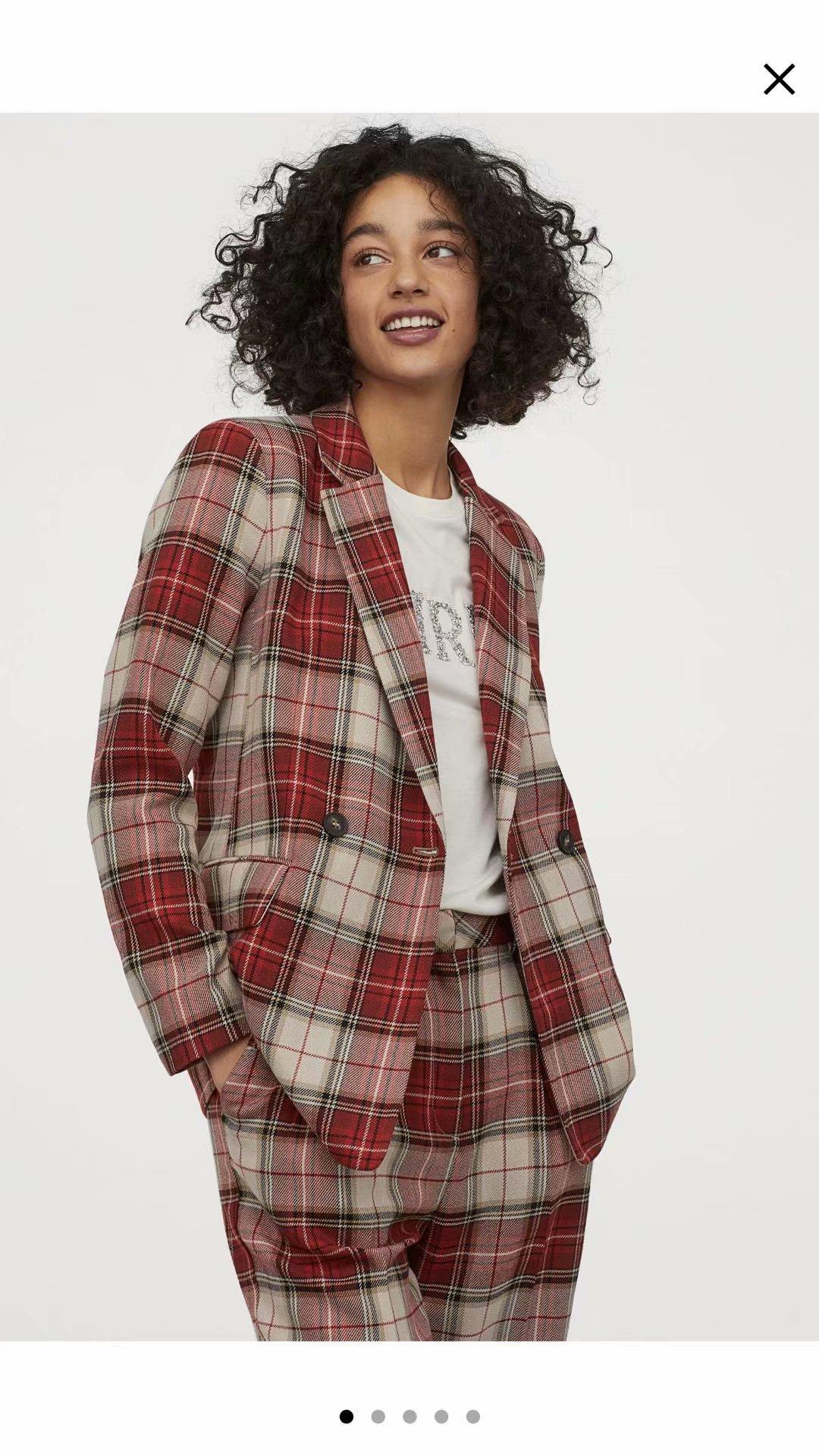 2020 nova primavera verão grade vermelha europeia duplo breasted za feminino terno jaqueta casaco zanzeaing sheining terno feminino dft27546