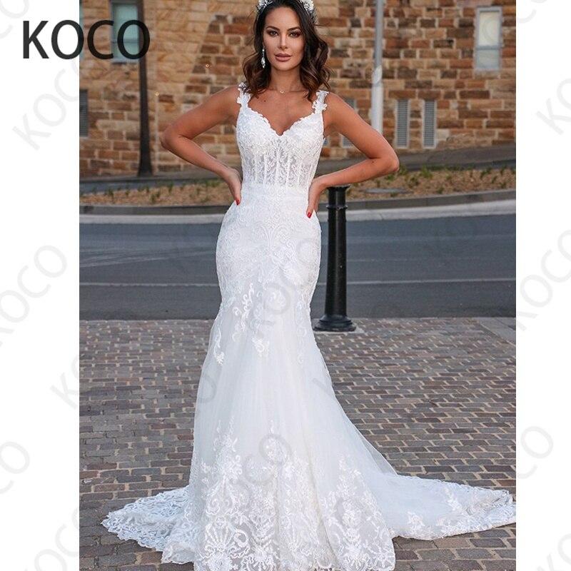 MACDUGAL-Vestido De Novia De tul Floral con cuello De pico, traje De...