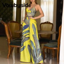 Tropical Print Sleeveless Pocket Design Wide Leg Jumpsuit