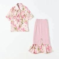 high quality skirt suits 2021 summer 2 piece set women pink floral print tops shirtruffle deco midi pink skirt set casual suit