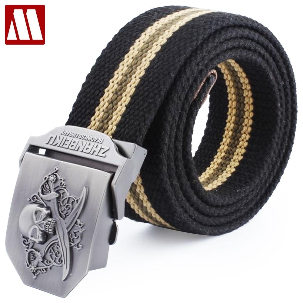 ¡Novedad! Cinturón de lona informal con diseño de calavera 3D para hombre, Unisex, con hebilla de Metal, cinturón de hierro para hombre