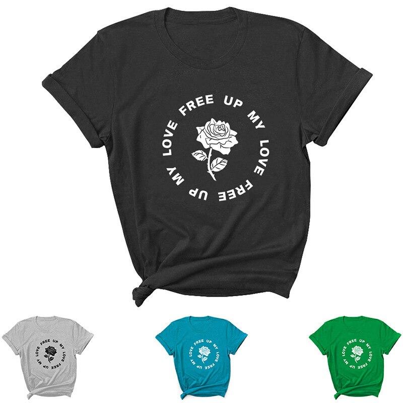 Женская футболка с надписью My Love Free Up, свободная женская футболка с коротким рукавом и круглым вырезом, Дамская Футболка, топы, одежда, женск...