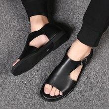 Sandales en cuir véritable pour hommes, chaussures dété 2020, mode montagne extérieure, plage, randonnée, fermé, fait à la main