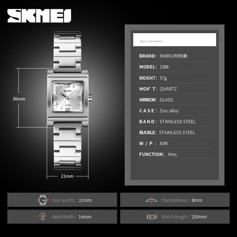 SKMEI Luxury Quartz Top Brand Women's Watch Light Fashion Stainless Steel Bracelet Crystal Watches Ladies  Relogio Feminino 1388 enlarge