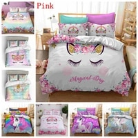 children bedding sets gifts unicorn and colorful horse printing duvet cover sets for kids girls boys 23pcs