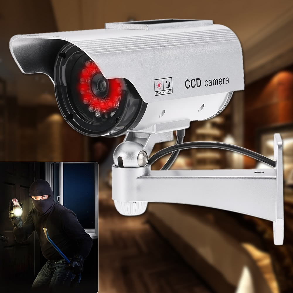 Simulation Bullet Camera Solar Powered Fake Dummy Rainproof Security System with LED light for Indoor Outdoor Use enlarge