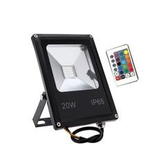 LED Floodlights 10W 20W 30W 50W RGB Flood Light With Remote Controller Reflector IP65 Outdoor Light  AC110V 240V  Garden Lamp