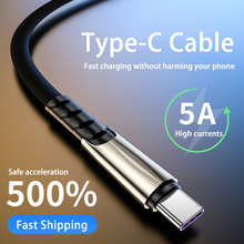 Zinc Alloy 5A USB Cable Fast Charging Type-C Cable For Huawei P40 Mate 30 Xiaomi Redmi Phone Accessories Charger Usb C Cable