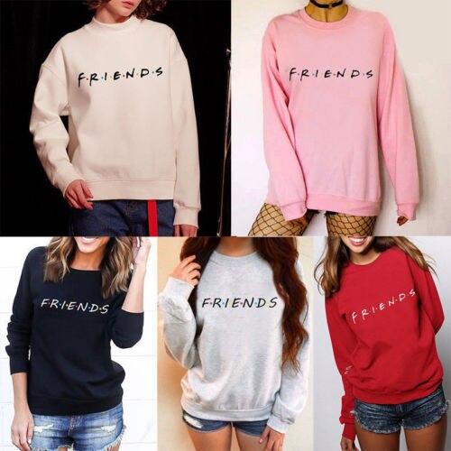 Женские повседневные свитшоты с длинным рукавом, джемпер с надписью друга, пуловер, тонкие осенние свитшоты, женские уличные Топы
