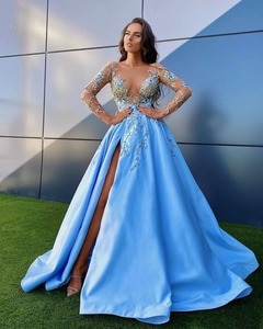 Vestidos Formales 2021 Sky Blue Floral Embroidery A-line Evening Dresses Lace Beaded Sexy Split Long Evening Gowns Full Sleeves