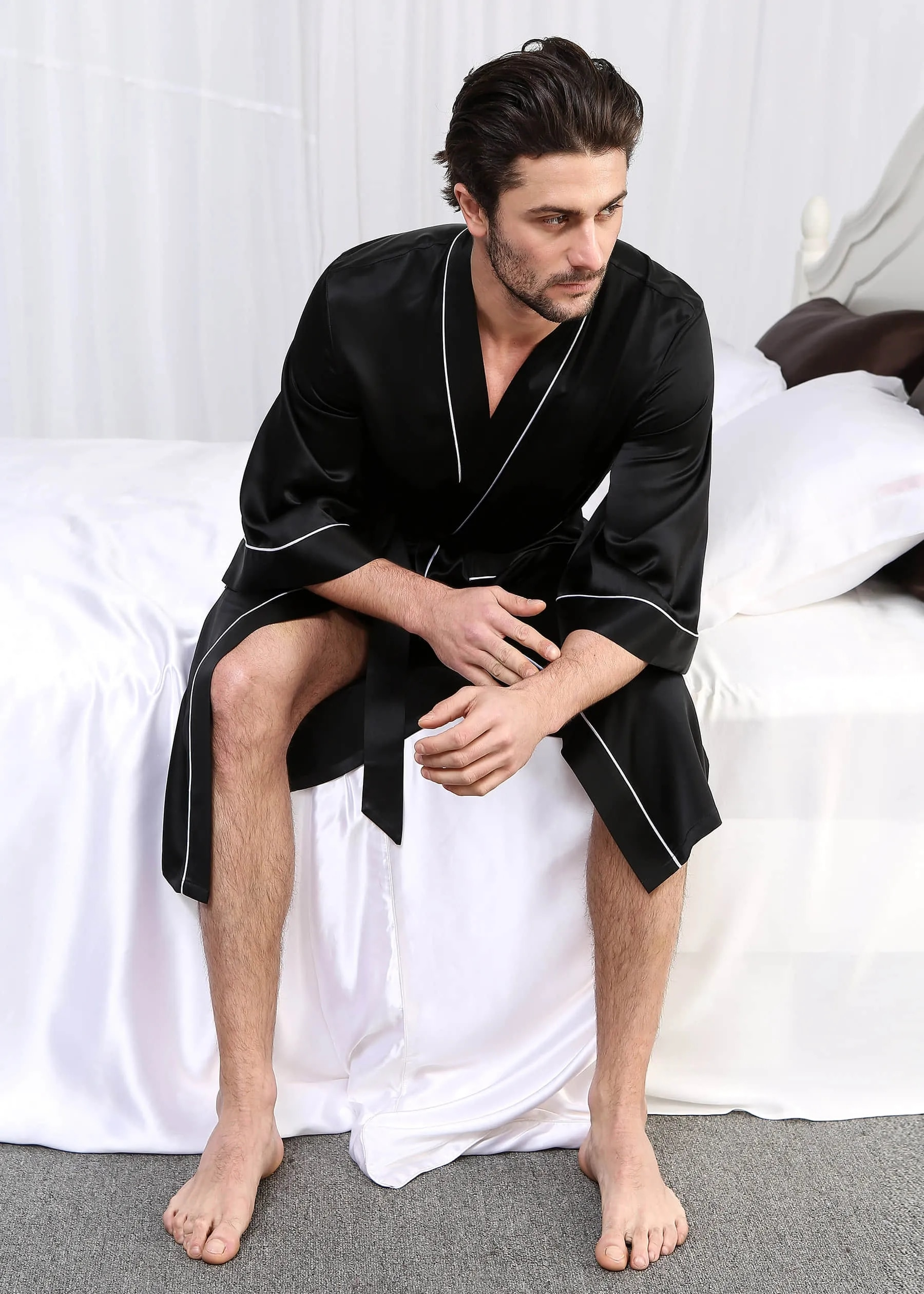 19 Momme Kimono Silk Robe with Piping Man Customized Long-Sleeved Bathrobe Home Sleepwear Nightgown