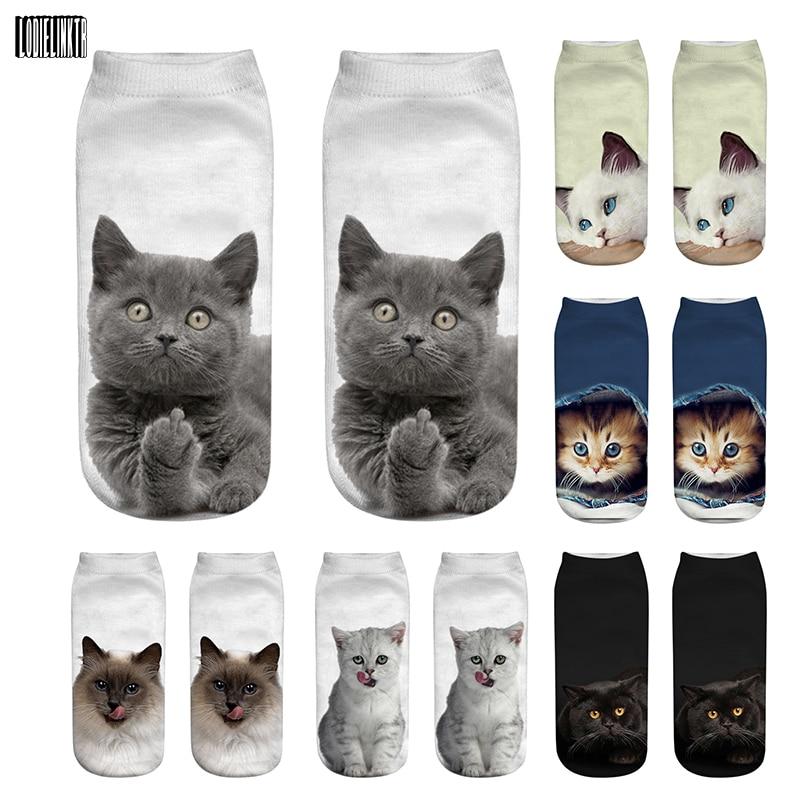 New 3D Print Funny Cute Cartoon Kitten Uni Short Socks Creative Colorful Multiple Cat Face Happy Low Ankle Socks For Women