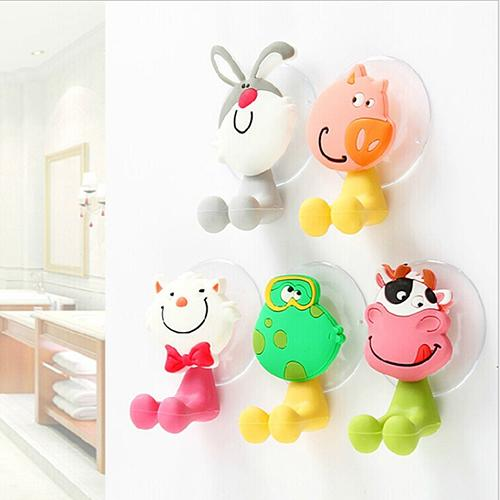 8cm x 5cm Eco-friendly Animal Cute Cartoon Suction Cup Toothbrush Holder Bathroom Accessories Set Wall Suction Holder Tool
