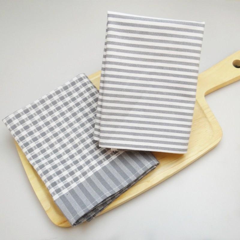 Popular servilleta de cocina de algodón clásico para el hogar, tela a rayas con Tela Gris a cuadros de lino/algodón cuadrado liso teñido de punto