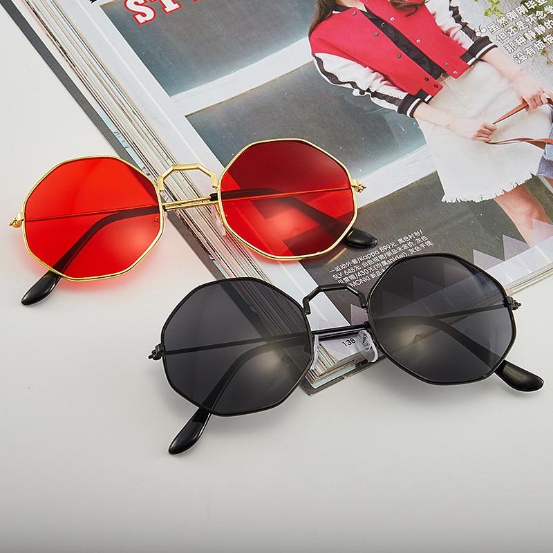 Sunglasses Women 2020 Vintage Polygon Metal Eyewear Fashion Brand Designer Anti Blue Light Transpare