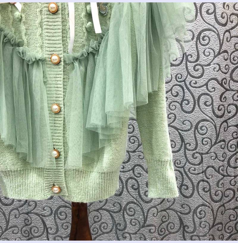 High Quality Cardigans 2021 Autumn Winter Casual Knitwear Women Ruffle Lace Flower Embroidery Long Sleeve Pink Green Cardigans enlarge