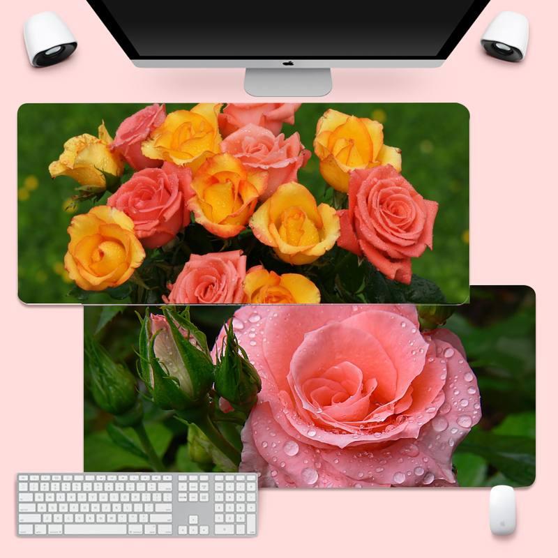 Свежая роза, блокированный край, Мышь игровой коврик Мышь коврик XL большая клавиатура PC стол коврик Takuo анти-скольжения Удобная подкладка
