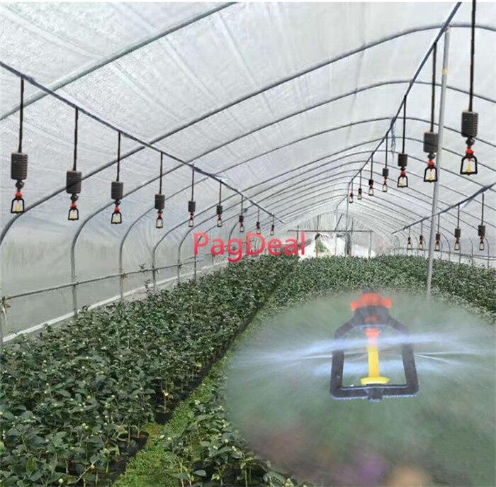 20 m conjunto agrícola pendurado névoa pulverizador de estufa jardim sistema irrigação sprinkler 16pe gramado ao ar livre rega kit