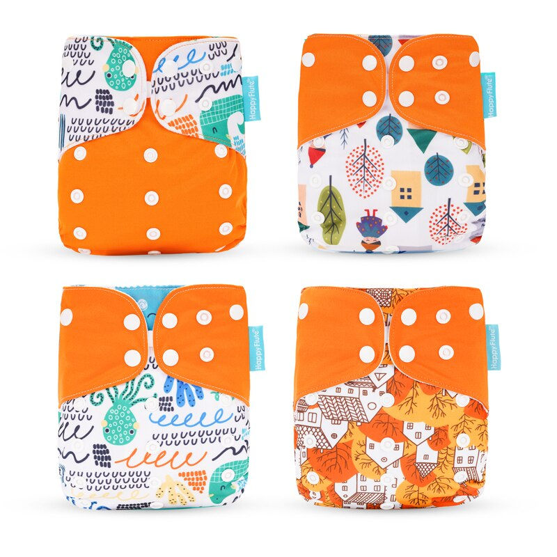 Happyflute 2019 nuevo estilo de moda bebé pañal 4 unids/set pañal cubierta impermeable y pañal de tela reutilizable