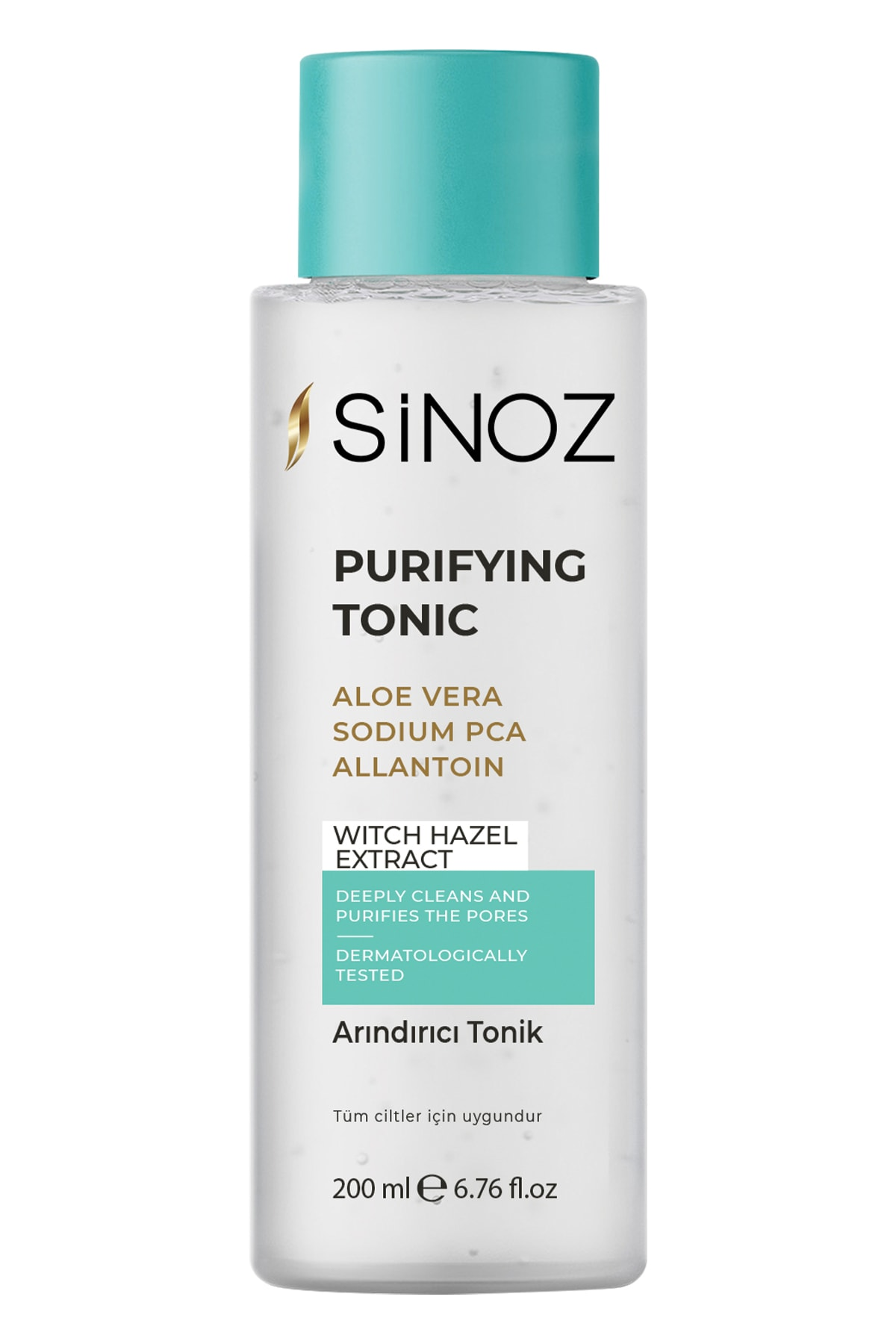 Sinoz Purifying Tonic, with aloe vera and witch hazel herbal formula, cleans the pores deeply 200 ml