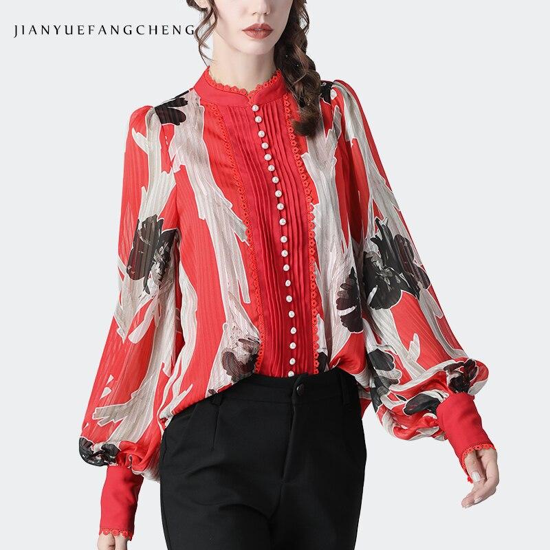 Moda arte floral impresso chiffon blusa feminina solto plus size lanterna manga pérolas frisado 2020 primavera senhoras topo e blusas