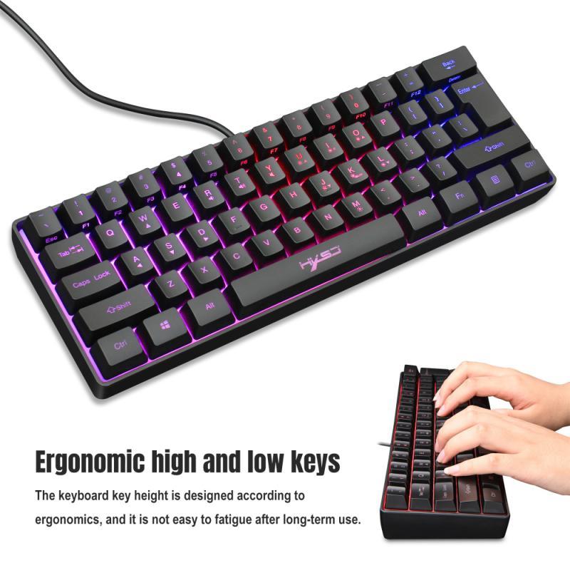 لوحة مفاتيح سلكية مع إضاءة خلفية RGB قابلة للتعديل ، 61 مفتاحًا ، للكمبيوتر ، الكمبيوتر المحمول ، ألعاب الكمبيوتر ، المنزل ، العمل ، المكتب ، ال...