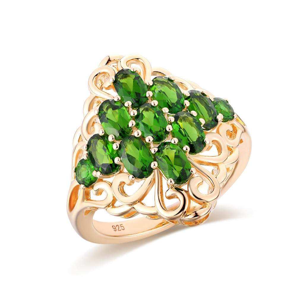 GZ ZONGFA مجوهرات الأزياء الساخن الفضة والمجوهرات الطبيعية الكروم ديوبسايد حجر 925 فضة خواتم