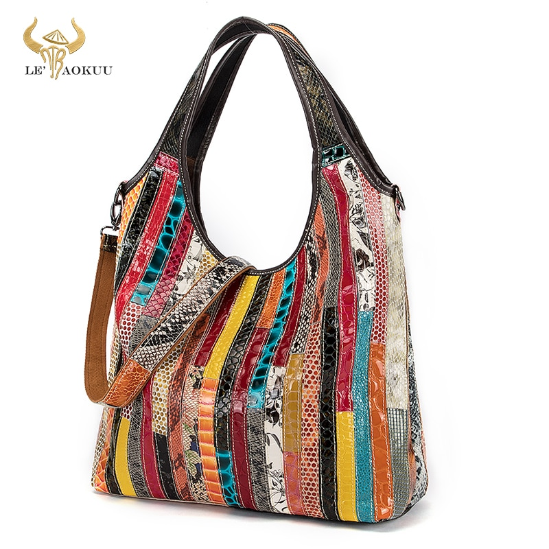 New Multi-Color Genuine Real Leather Luxury Ladies Big Shopper Purse And Handbag Shoulder bag Women
