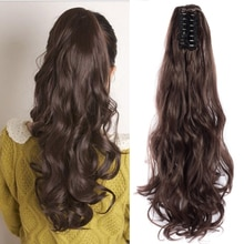 """LISI GIRL 22"""" Long Wavy Wrap Around Clip In Ponytail Hair Extension Heat Resistant Synthetic Natural Wave Pony Tail Fake Hair"""