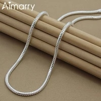 aimarry 925 sterling silver 4mm snake chain necklace for women men party engagement wedding gifts fashion jewelry