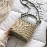 casual chains straw bucket bags women summer messenger bag rattan bags beach lady travel purses and handbags shoulder bag bolsa