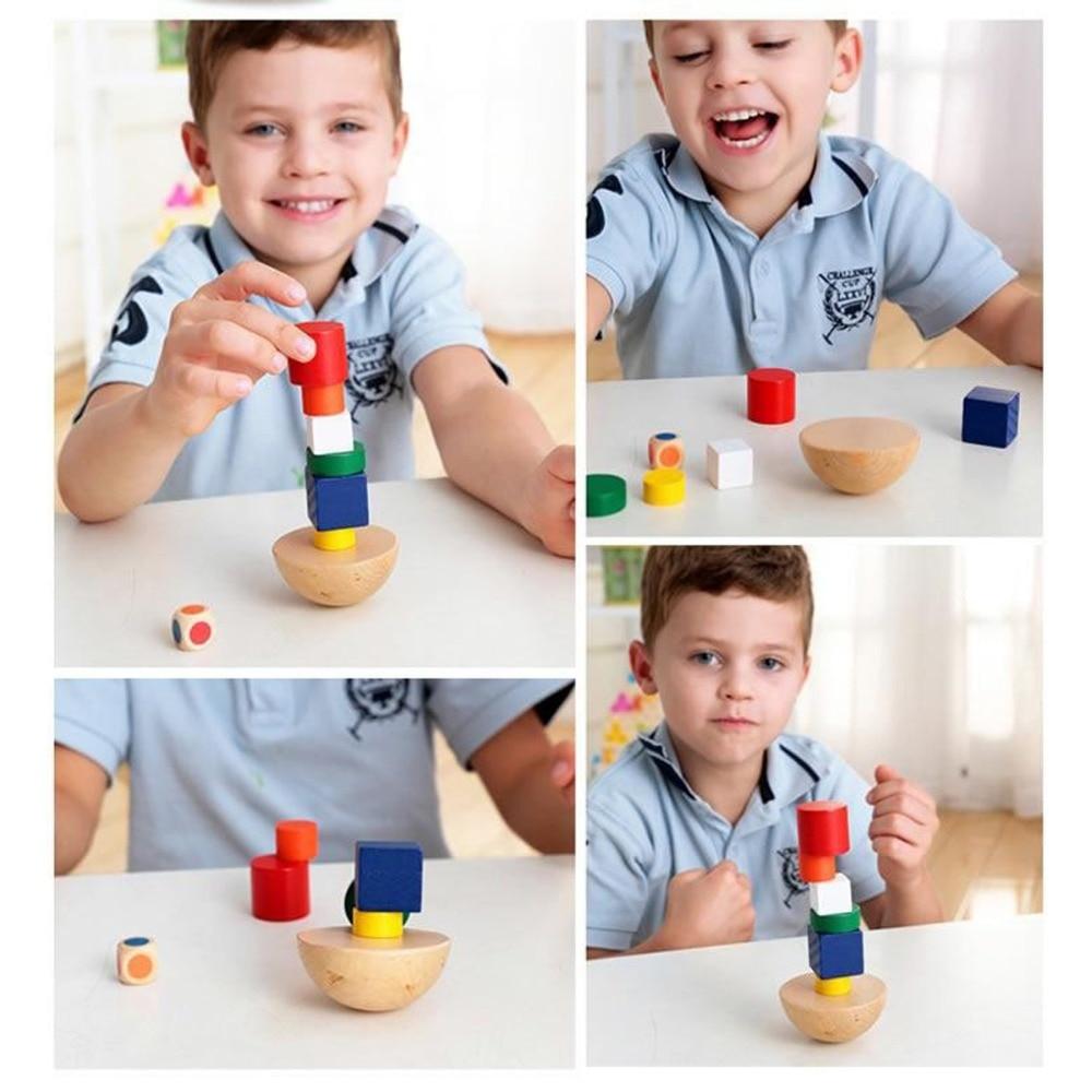 8 pcs/set Wooden Geometric Balance Blocks Kids Montessori Game   Fun Toys For Children Canvas Bag Educational Learning Gifts
