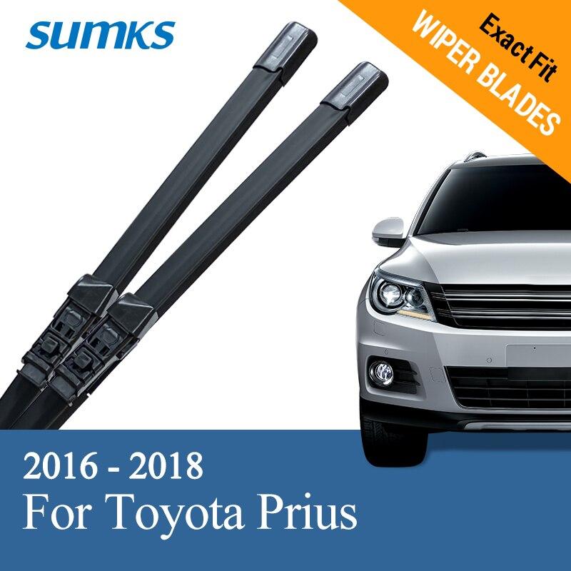 Sumks lâminas de limpador para pára-brisa para toyota prius xw50 2016 2017 2018 ajuste específico botão braços