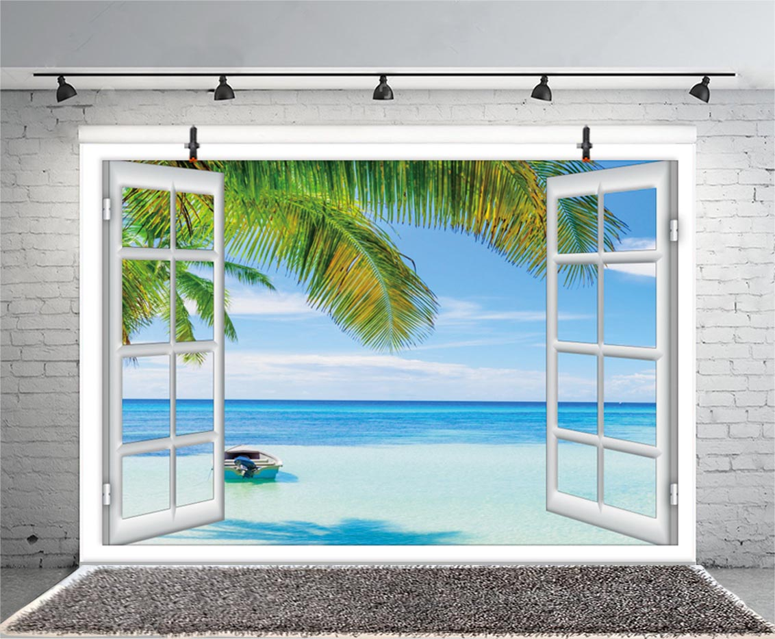 Summer Tropical Beach Backdrop Hawaiian Seaside Sunset Palm Tree Photography Background White Wooden Windows Party Photo Studio enlarge