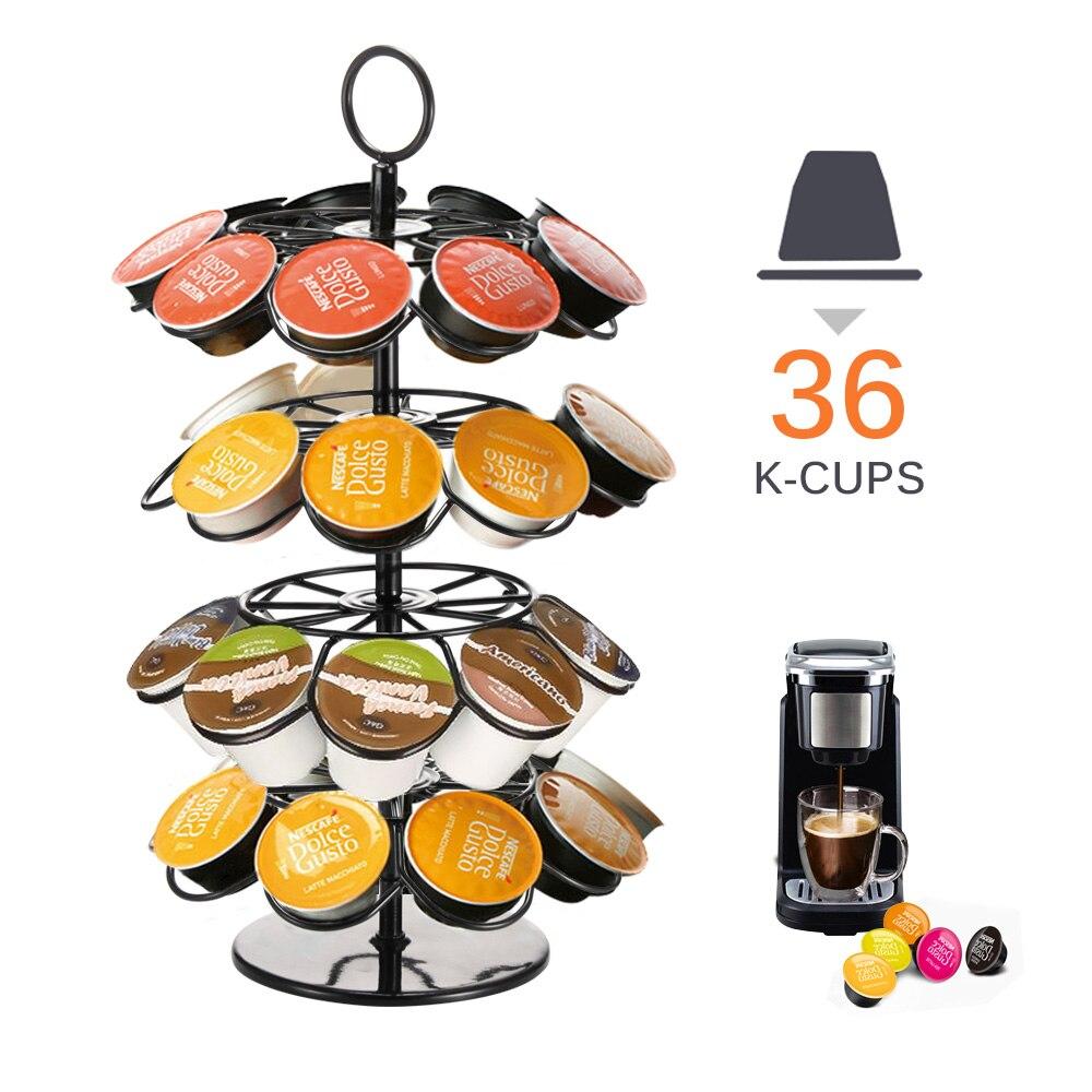Soporte de torre de cápsula rotativa práctico soporte para cápsulas de café Rack para Nespresso/Dolce Gusto/k-cup cápsulas de café