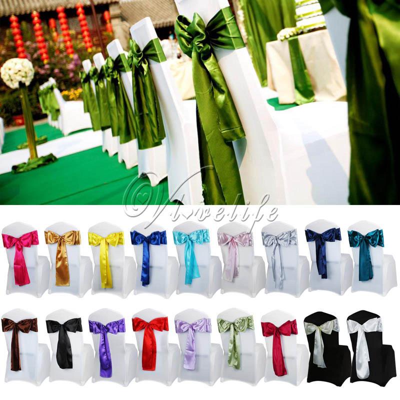ربطات عنق من الساتان مع فراشة لغطاء الكرسي ، زينة للمآدب ، الزفاف ، صناعة يدوية ، بالجملة ، 6 × 108 بوصة ، 50 قطعة