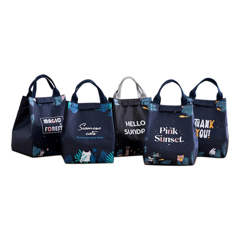 Magic Forest Cartoon Lunch Handbag Thicken Portable Insulation Bag Office School Outdoor Picnic Lunch Bag