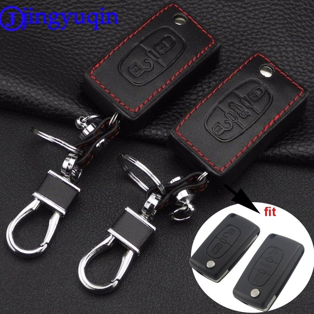 Jingyuqin remoto 2/3 botones llave de coche de cuero funda de diseño Fob cubierta para Peugeot 207, 307, 308, 407, 807 para CITROEN C2 C3 C4 C5 C6